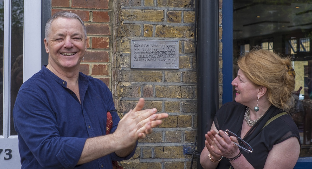 Richard Sealtiel and actress Felicity Montagu unveil 100th market plaque